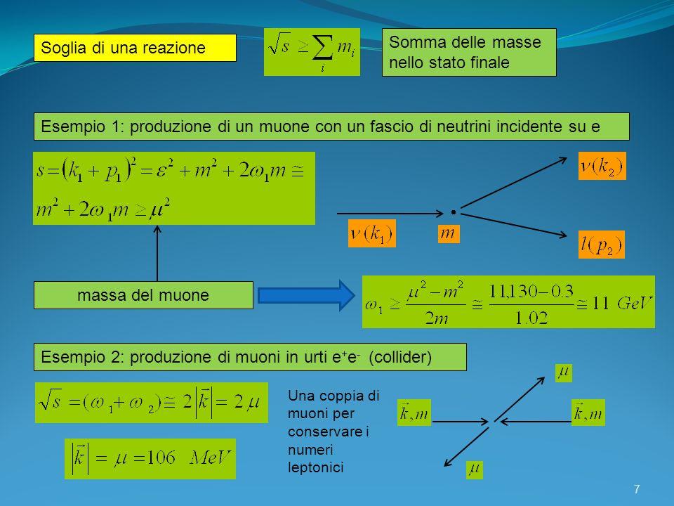 7 Soglia di una reazione Somma delle masse nello stato finale Esempio 1: produzione di un muone con un fascio di neutrini incidente su e massa del muo