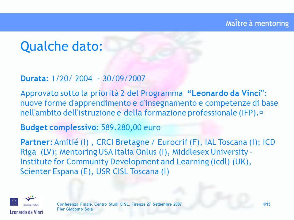 MaÎtre à mentoring Conferenza Finale, Centro Studi CISL, Firenze 27 Settembre 200715/15 Pier Giacomo Sola Grazie dellattenzione e..