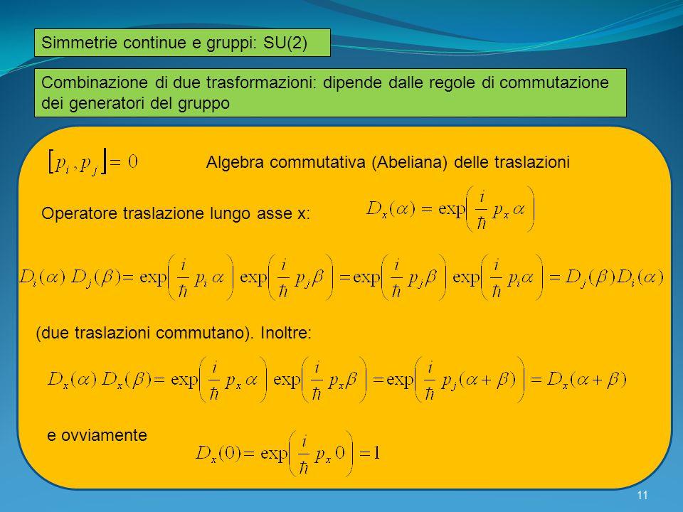Simmetrie continue e gruppi: SU(2) Combinazione di due trasformazioni: dipende dalle regole di commutazione dei generatori del gruppo Algebra commutat
