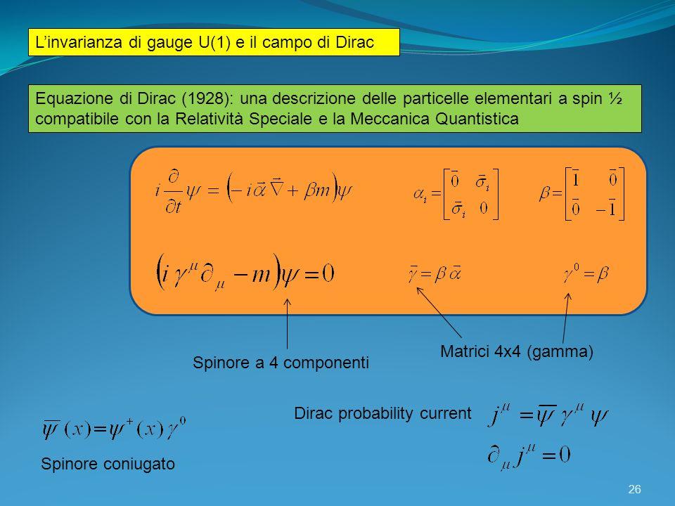Linvarianza di gauge U(1) e il campo di Dirac Equazione di Dirac (1928): una descrizione delle particelle elementari a spin ½ compatibile con la Relat