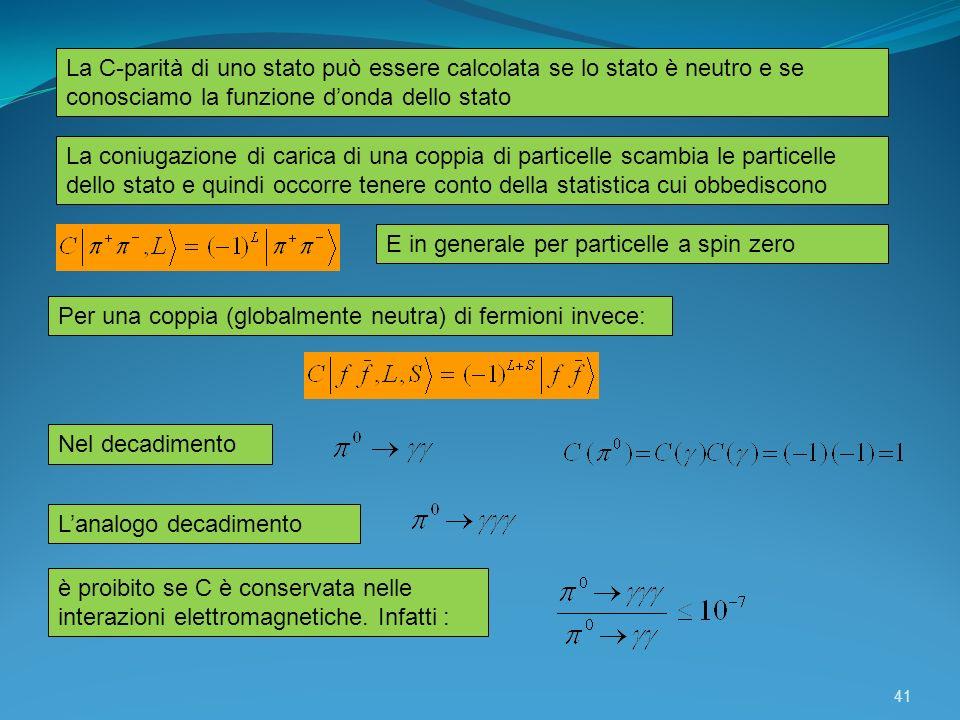 La C-parità di uno stato può essere calcolata se lo stato è neutro e se conosciamo la funzione donda dello stato E in generale per particelle a spin z