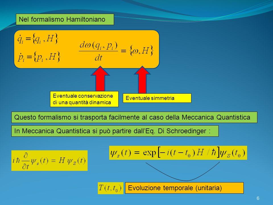 Nel formalismo Hamiltoniano Eventuale conservazione di una quantità dinamica Eventuale simmetria Questo formalismo si trasporta facilmente al caso del