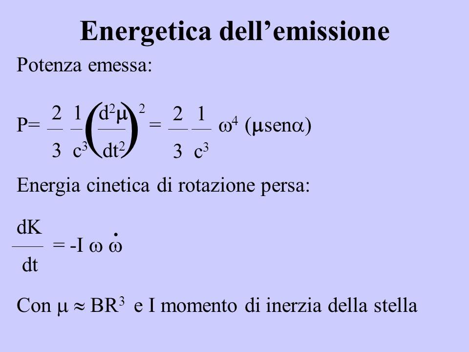 Energetica dellemissione Potenza emessa: P= = sen ) Energia cinetica di rotazione persa: = -I Con BR 3 e I momento di inerzia della stella 2 1 d 2 2 3 c 3 dt 2 ( ) 21 3 c 3 dK dt ·