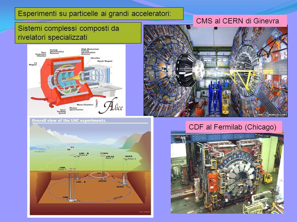 Esperimenti su particelle ai grandi acceleratori: CMS al CERN di Ginevra CDF al Fermilab (Chicago) Sistemi complessi composti da rivelatori specializzati