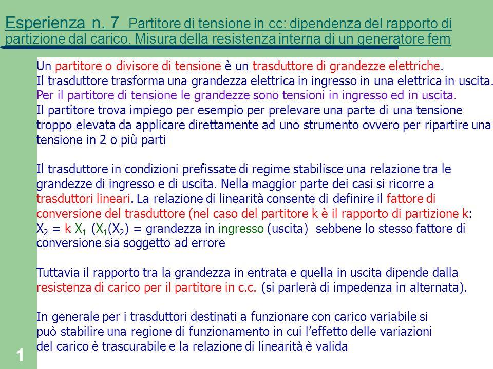 1 Esperienza n. 7 Partitore di tensione in cc: dipendenza del rapporto di partizione dal carico. Misura della resistenza interna di un generatore fem