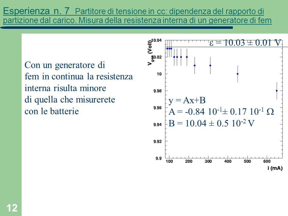 12 Esperienza n. 7 Partitore di tensione in cc: dipendenza del rapporto di partizione dal carico. Misura della resistenza interna di un generatore di