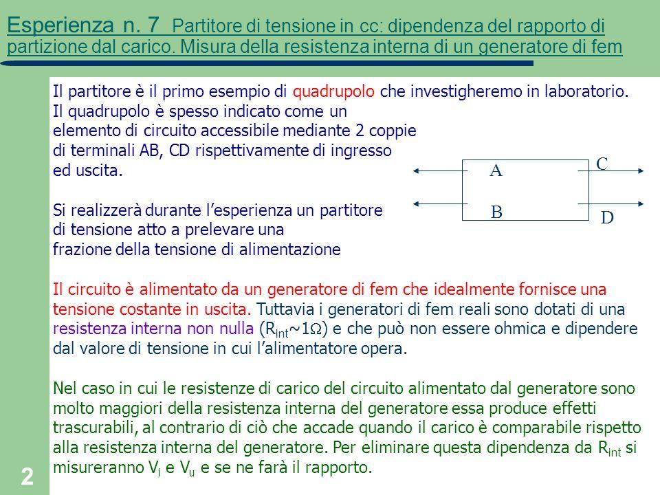 2 Esperienza n. 7 Partitore di tensione in cc: dipendenza del rapporto di partizione dal carico. Misura della resistenza interna di un generatore di f