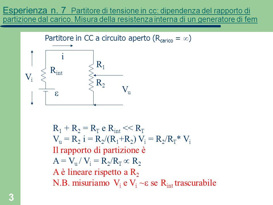 3 Esperienza n. 7 Partitore di tensione in cc: dipendenza del rapporto di partizione dal carico. Misura della resistenza interna di un generatore di f