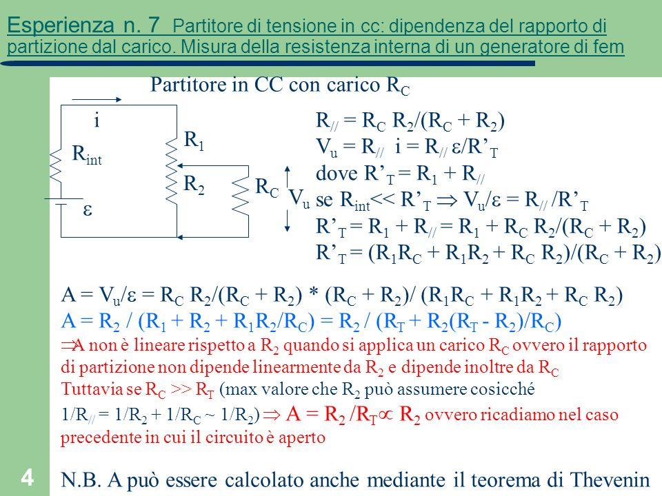 4 Esperienza n. 7 Partitore di tensione in cc: dipendenza del rapporto di partizione dal carico. Misura della resistenza interna di un generatore di f