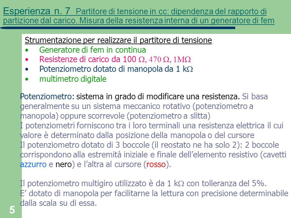 5 Esperienza n. 7 Partitore di tensione in cc: dipendenza del rapporto di partizione dal carico. Misura della resistenza interna di un generatore di f
