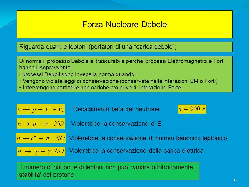 Forza Nucleare Debole Riguarda quark e leptoni (portatori di una carica debole) Di norma il processo Debole e trascurabile perche processi Elettromagn