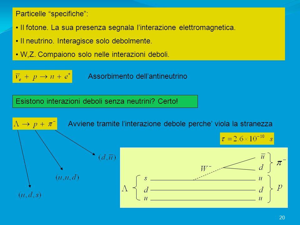 Particelle specifiche: Il fotone. La sua presenza segnala linterazione elettromagnetica. Il neutrino. Interagisce solo debolmente. W,Z. Compaiono solo