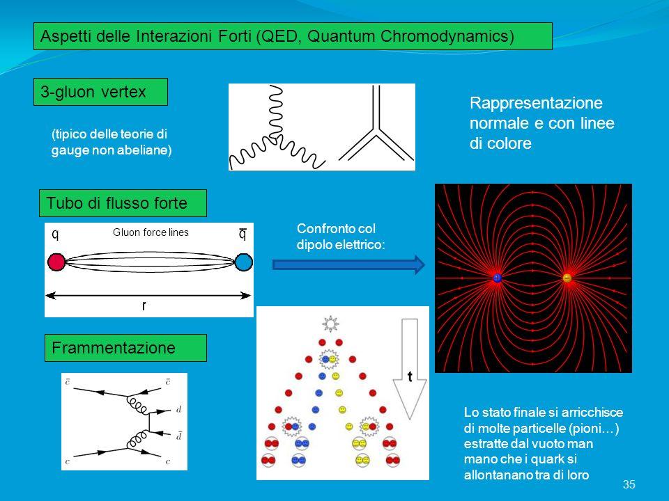 Aspetti delle Interazioni Forti (QED, Quantum Chromodynamics) 3-gluon vertex Tubo di flusso forte Frammentazione Rappresentazione normale e con linee