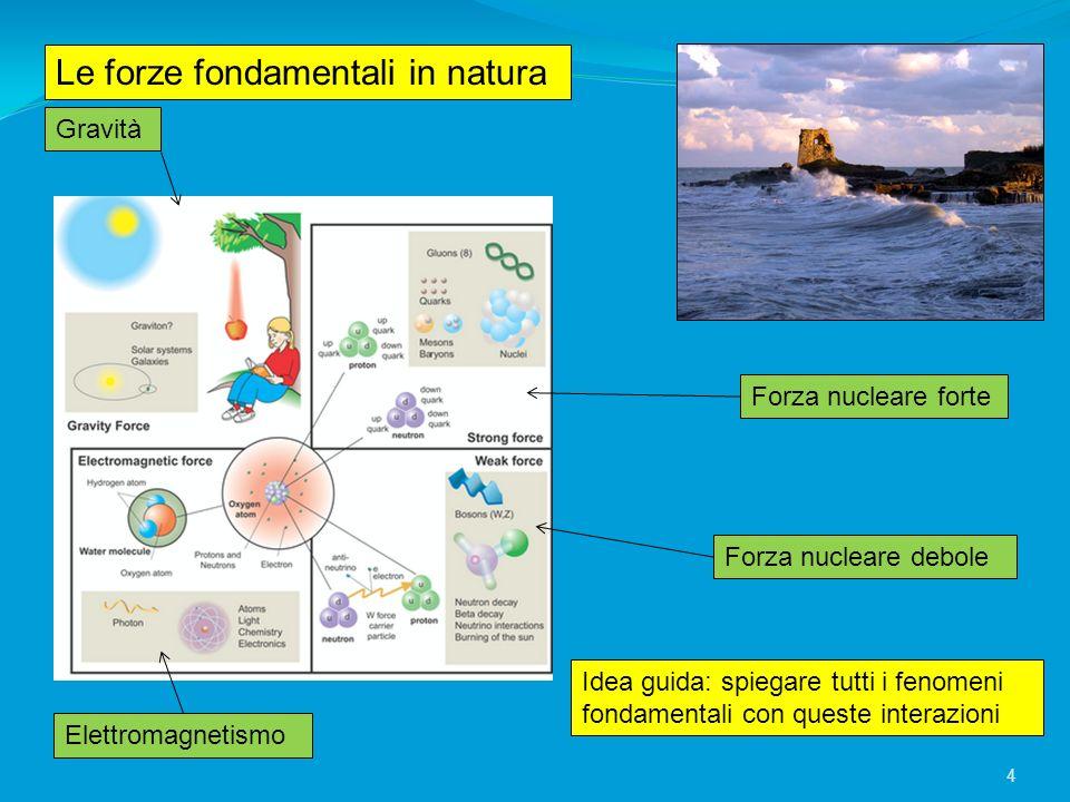 Le forze fondamentali in natura Gravità Elettromagnetismo Forza nucleare forte Forza nucleare debole Idea guida: spiegare tutti i fenomeni fondamental
