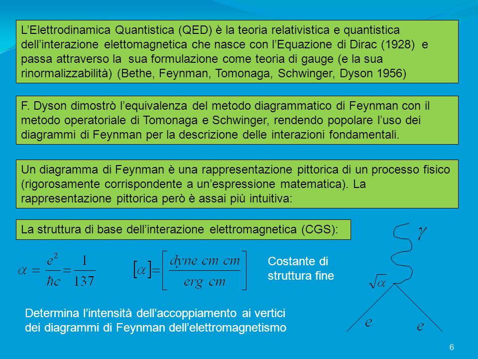 La struttura di base dellinterazione elettromagnetica (CGS): LElettrodinamica Quantistica (QED) è la teoria relativistica e quantistica dellinterazion