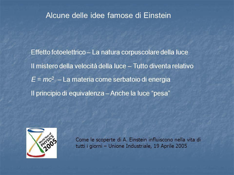 Alcune delle idee famose di Einstein Effetto fotoelettrico – La natura corpuscolare della luce Il mistero della velocità della luce – Tutto diventa re