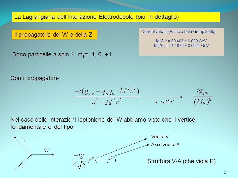 Il propagatore del W e della Z Current values (Particle Data Group 2006): M(W ±) = 80.403 ± 0.029 GeV M(Z0) = 91.1876 ± 0.0021 GeV Sono particelle a s