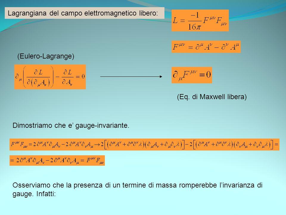 Lagrangiana del campo elettromagnetico libero: (Eulero-Lagrange) (Eq. di Maxwell libera) Dimostriamo che e gauge-invariante. Osserviamo che la presenz