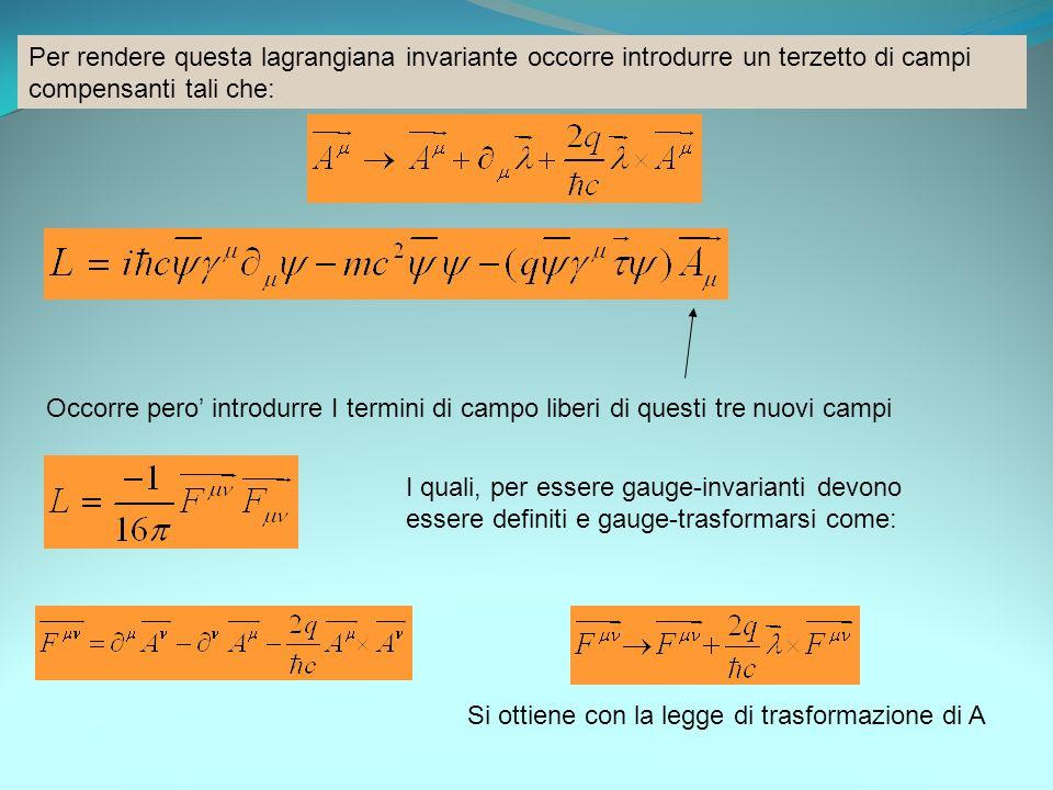 Per rendere questa lagrangiana invariante occorre introdurre un terzetto di campi compensanti tali che: Occorre pero introdurre I termini di campo lib