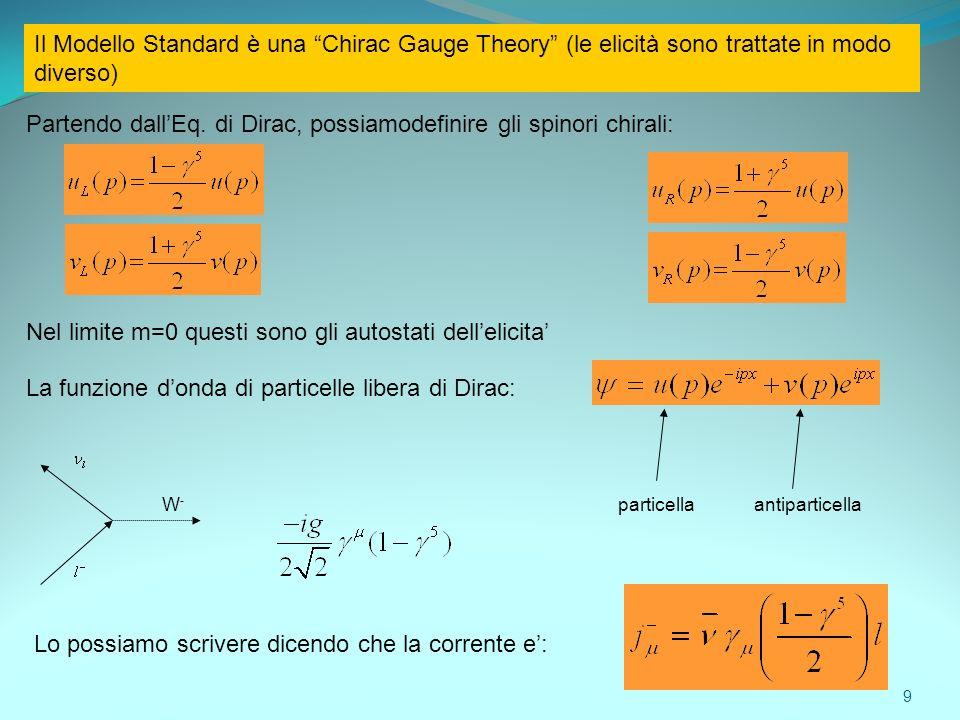 Il Modello Standard è una Chirac Gauge Theory (le elicità sono trattate in modo diverso) Partendo dallEq. di Dirac, possiamodefinire gli spinori chira