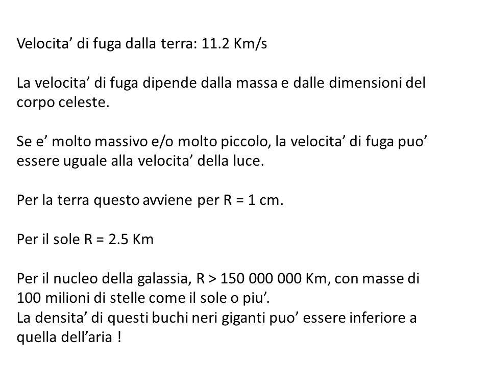 Velocita di fuga dalla terra: 11.2 Km/s La velocita di fuga dipende dalla massa e dalle dimensioni del corpo celeste.