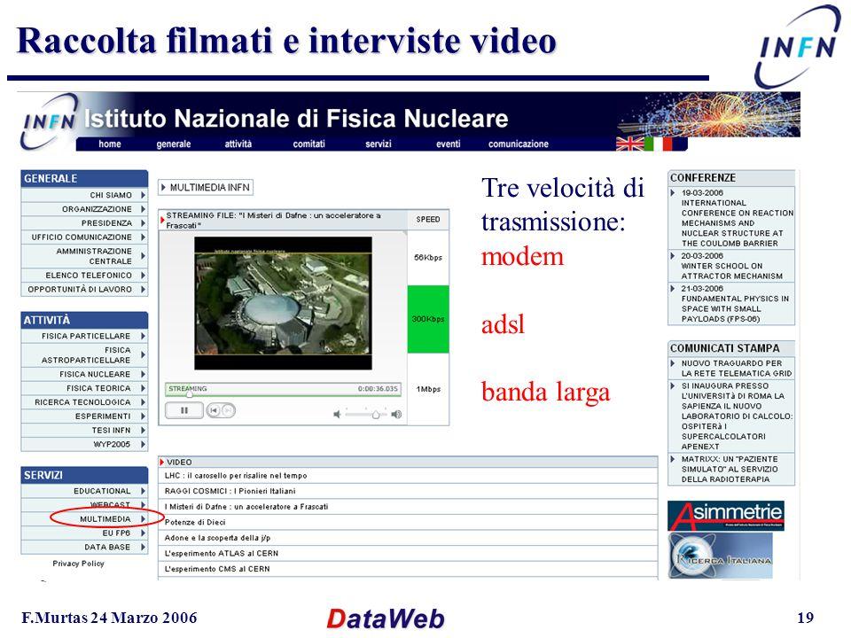 F.Murtas 24 Marzo 200619 Raccolta filmati e interviste video Queste informazioni vanno direttamente sul sito Ricercaitaliana.it Tre velocità di trasmissione: modem adsl banda larga