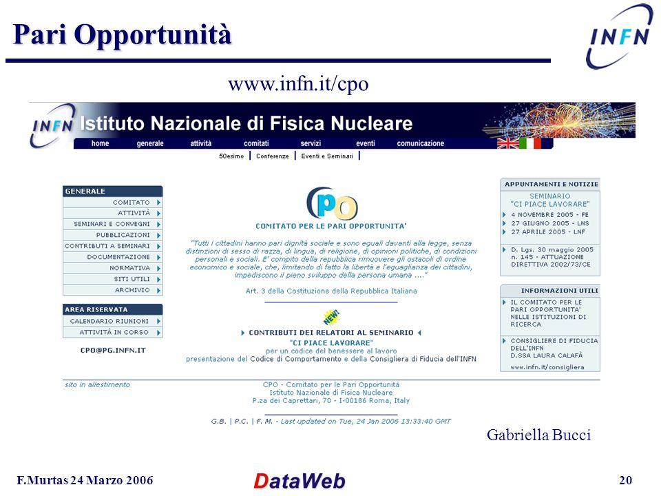 F.Murtas 24 Marzo 200620 Pari Opportunità www.infn.it/cpo Gabriella Bucci