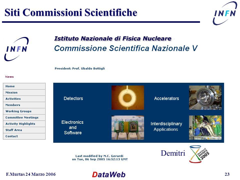 F.Murtas 24 Marzo 200623 Siti Commissioni Scientifiche Mauro Mancini Marini-Ubaldini Feliciello-Million Demitri