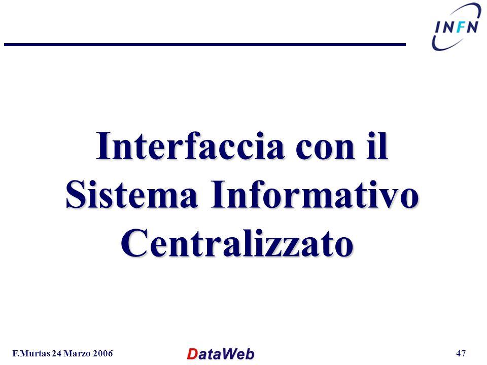 F.Murtas 24 Marzo 200647 Interfaccia con il Sistema Informativo Centralizzato
