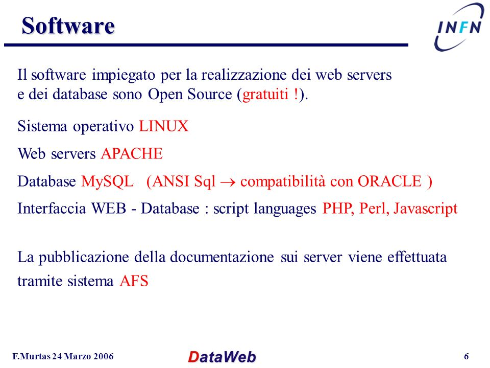 F.Murtas 24 Marzo 20066 Software Software Sistema operativo LINUX Web servers APACHE Database MySQL (ANSI Sql compatibilità con ORACLE ) Interfaccia W
