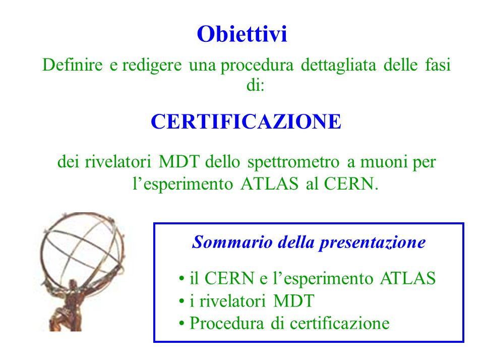 Obiettivi Definire e redigere una procedura dettagliata delle fasi di: CERTIFICAZIONE dei rivelatori MDT dello spettrometro a muoni per lesperimento A