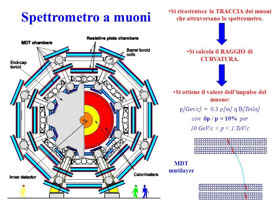 Si ricostruisce la TRACCIA dei muoni che attraversano lo spettrometro. Si calcola il RAGGIO di CURVATURA. Si ottiene il valore dellimpulso del muone: