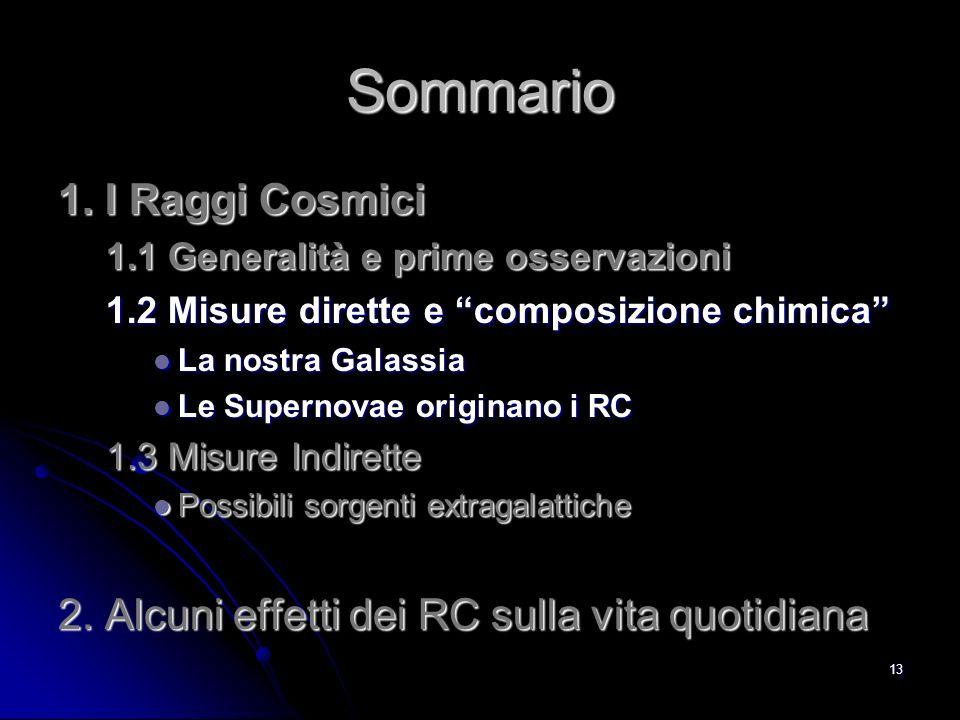 12 Misurare i RC Secondari I RC Primari (90% protoni, 9% nuclei ) in arrivo sulla sommità dellatmosfera interagiscono producendo uno sciame di particelle.