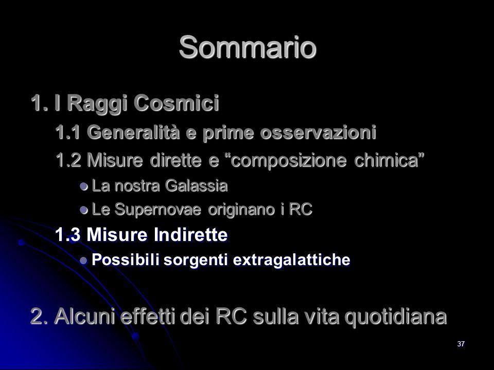 36 Tempo di permanenza dei RC nella Galassia A causa della deflessione nel Campo magnetico, non è possibile fare astronomia coi RC (non puntano alla sorgente); le direzioni di provenienza sono random.
