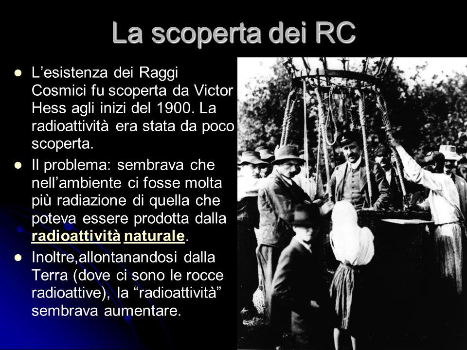 4 La scoperta dei RC Lesistenza dei Raggi Cosmici fu scoperta da Victor Hess agli inizi del 1900.