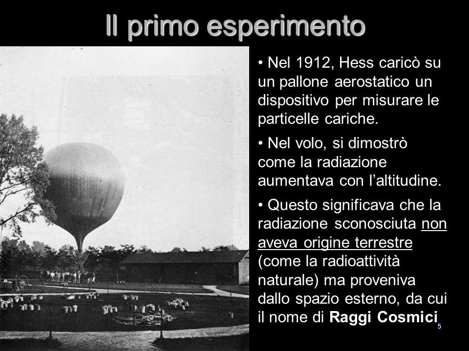 5 Il primo esperimento Nel 1912, Hess caricò su un pallone aerostatico un dispositivo per misurare le particelle cariche.