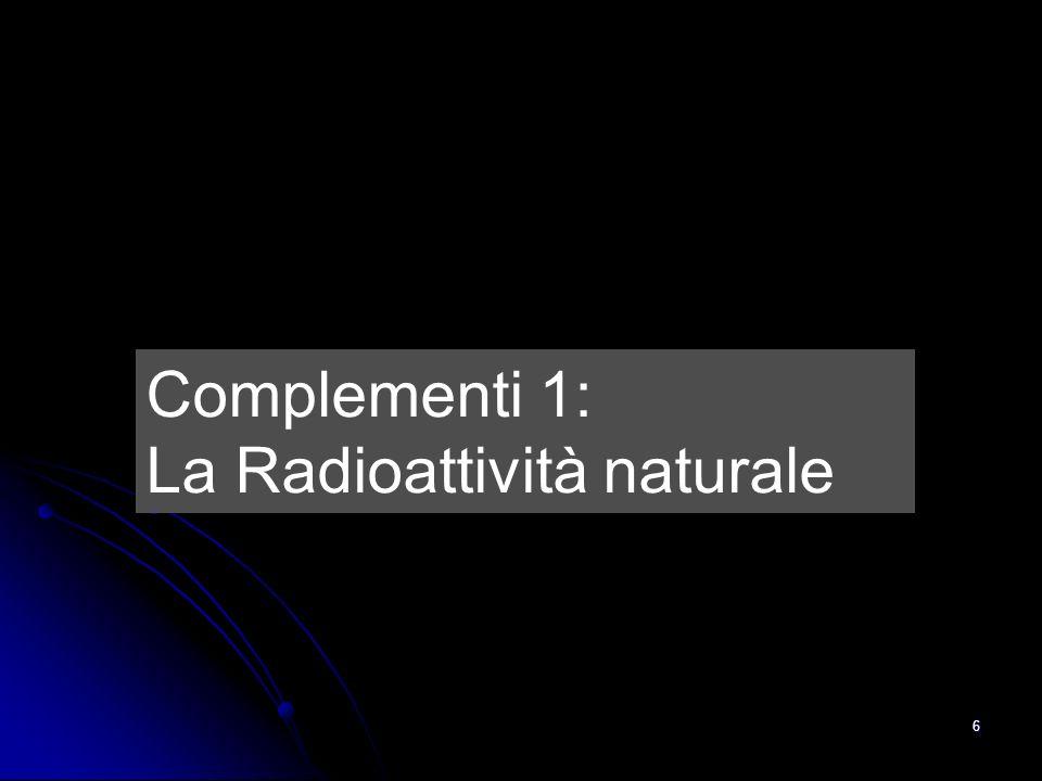 6 Complementi 1: La Radioattività naturale