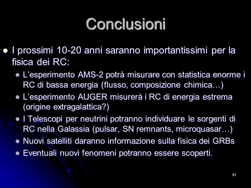 60 2.4 I RC e la datazione dei reperti I RC producono RC Secondari nellatmosfera.