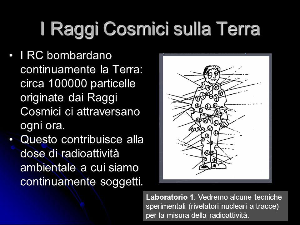 7 I Raggi Cosmici sulla Terra I RC bombardano continuamente la Terra: circa 100000 particelle originate dai Raggi Cosmici ci attraversano ogni ora.