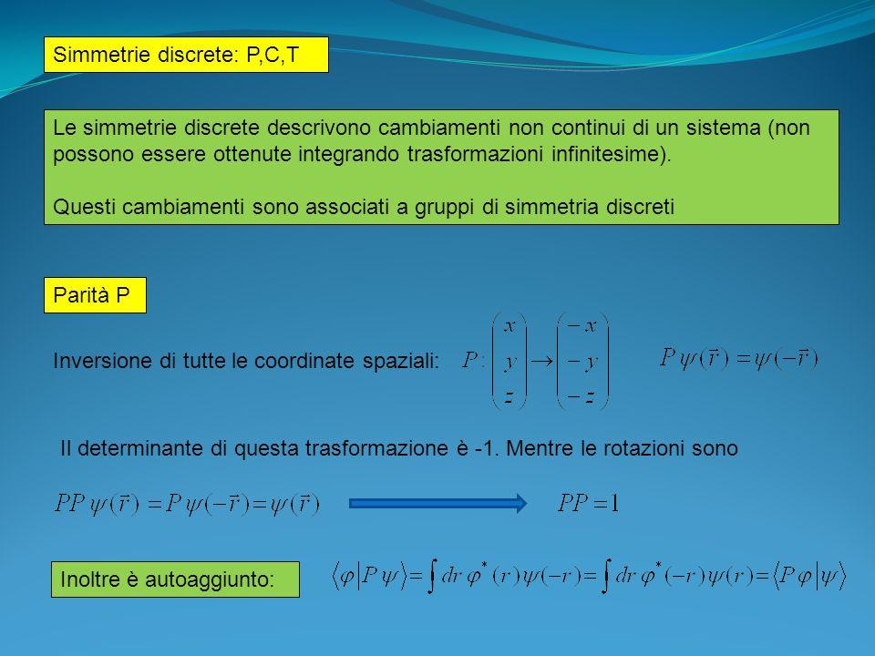 Simmetrie discrete: P,C,T Le simmetrie discrete descrivono cambiamenti non continui di un sistema (non possono essere ottenute integrando trasformazio