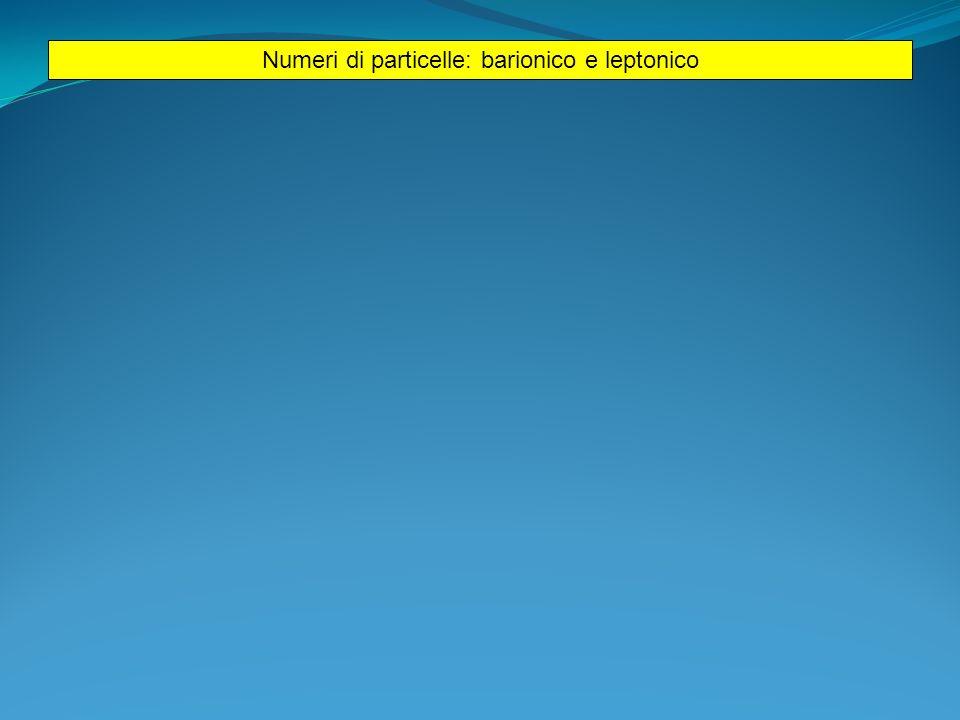 Numeri di particelle: barionico e leptonico