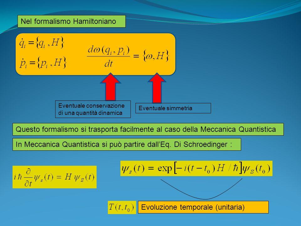 Operatori nella descrizione di Heisenberg Derivando: Quantità conservate: commutano con H Nel caso in cui vi sia una dipendenza esplicita dal tempo (sistemi non isolati) Descrizione di Schroedinger e di Heisenberg : HeisenbergSchroedinger