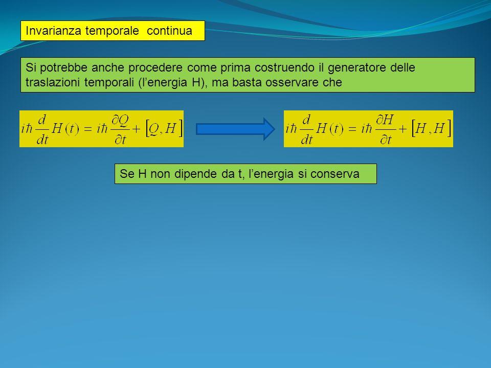 Simmetrie continue e gruppi: SU(2) Combinazione di due trasformazioni: dipende dalle regole di commutazione dei generatori del gruppo Algebra commutativa (Abeliana) delle traslazioni Operatore traslazione lungo asse x: (due traslazioni commutano).