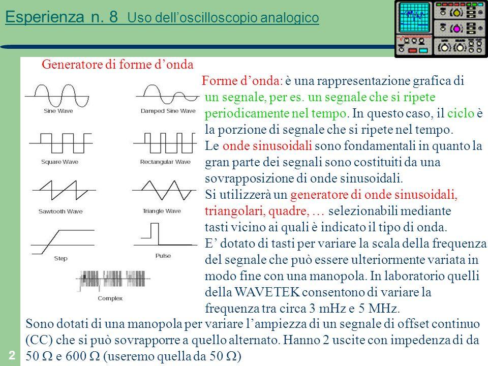 2 Esperienza n. 8 Uso delloscilloscopio analogico Generatore di forme donda Forme donda: è una rappresentazione grafica di un segnale, per es. un segn