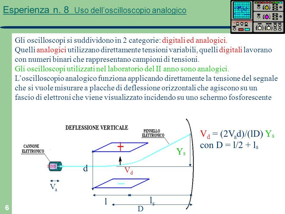 6 Esperienza n. 8 Uso delloscilloscopio analogico Gli oscilloscopi si suddividono in 2 categorie: digitali ed analogici. Quelli analogici utilizzano d
