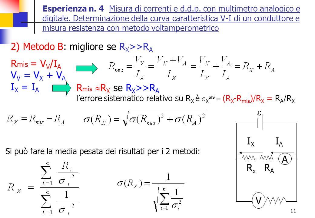 11 Esperienza n. 4 Misura di correnti e d.d.p. con multimetro analogico e digitale. Determinazione della curva caratteristica V-I di un conduttore e m