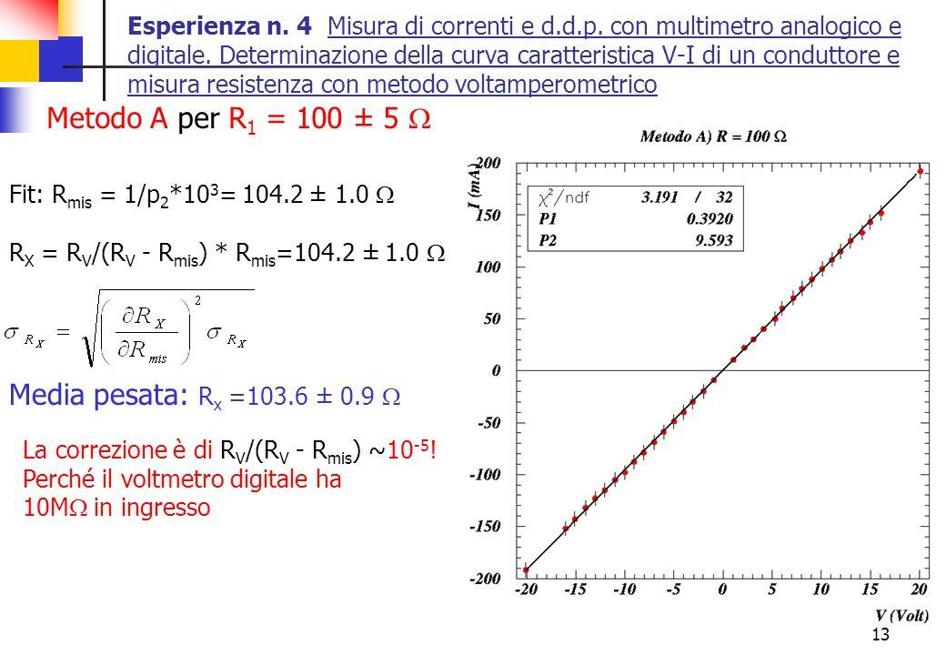 13 Esperienza n. 4 Misura di correnti e d.d.p. con multimetro analogico e digitale. Determinazione della curva caratteristica V-I di un conduttore e m
