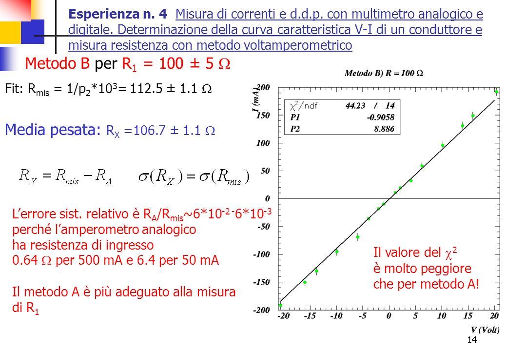 14 Esperienza n. 4 Misura di correnti e d.d.p. con multimetro analogico e digitale. Determinazione della curva caratteristica V-I di un conduttore e m
