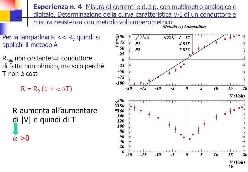 16 Esperienza n. 4 Misura di correnti e d.d.p. con multimetro analogico e digitale. Determinazione della curva caratteristica V-I di un conduttore e m