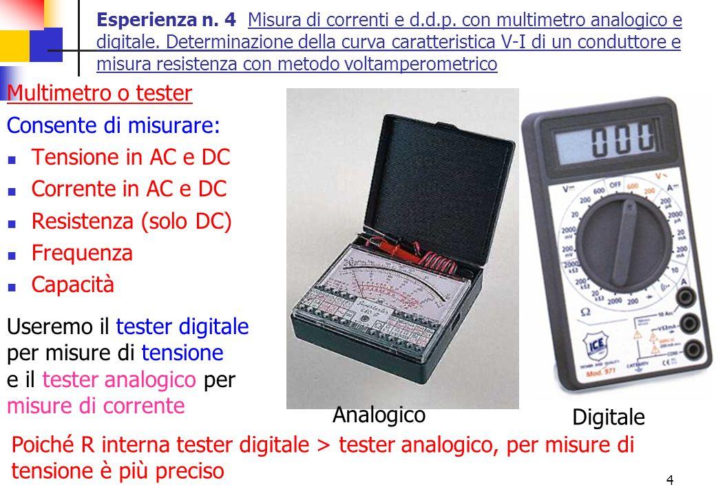 4 Esperienza n. 4 Misura di correnti e d.d.p. con multimetro analogico e digitale. Determinazione della curva caratteristica V-I di un conduttore e mi